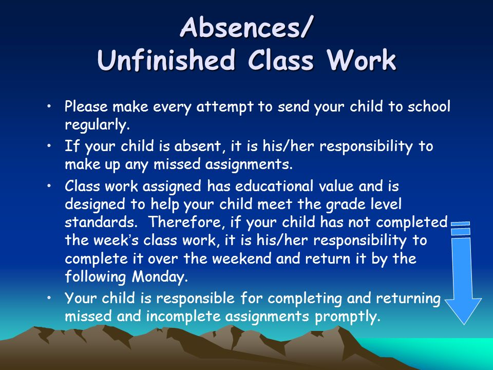 Absences/ Unfinished Class Work