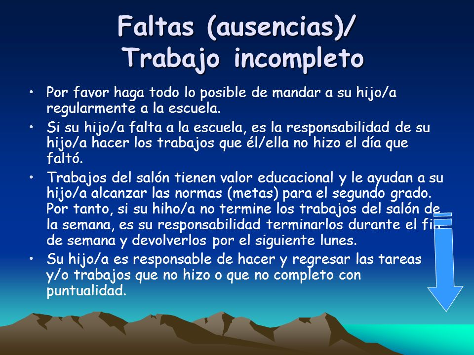 Faltas (ausencias)/ Trabajo incompleto