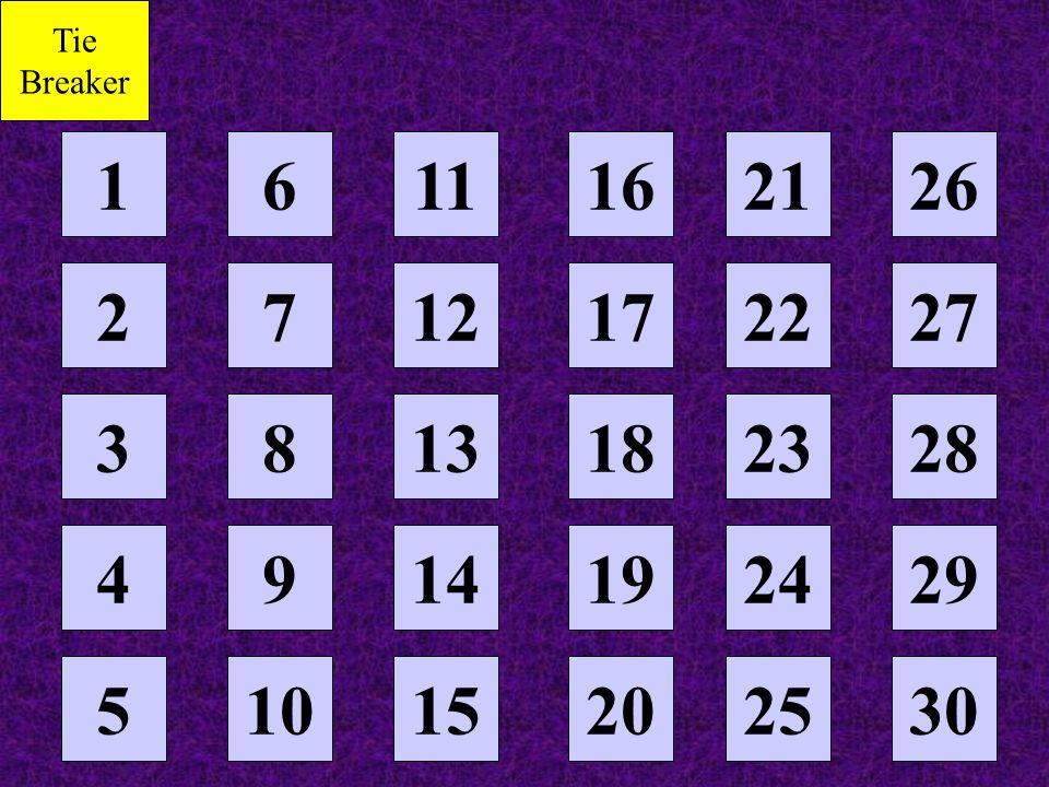 Tie Breaker 1 6 11 16 21 26 2 7 12 17 22 27 3 8 13 18 23 28 4 9 14 19 24 29 5 10 15 20 25 30