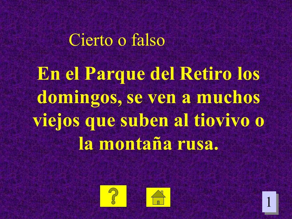 Cierto o falso En el Parque del Retiro los domingos, se ven a muchos viejos que suben al tiovivo o la montaña rusa.
