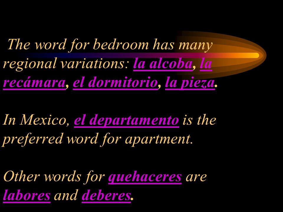 The word for bedroom has many regional variations: la alcoba, la recámara, el dormitorio, la pieza.