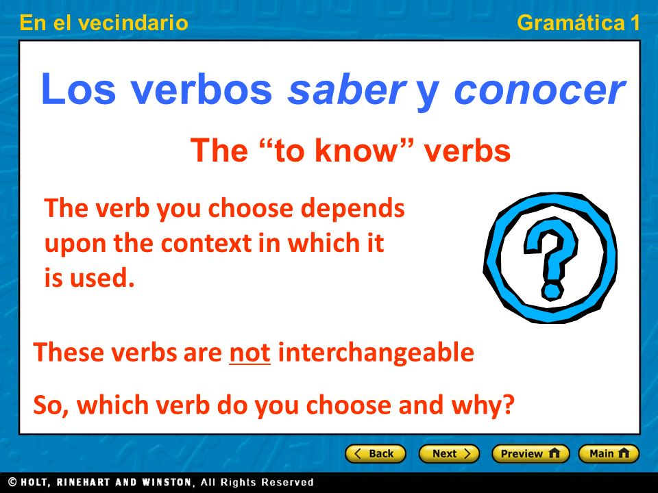 Los verbos saber y conocer