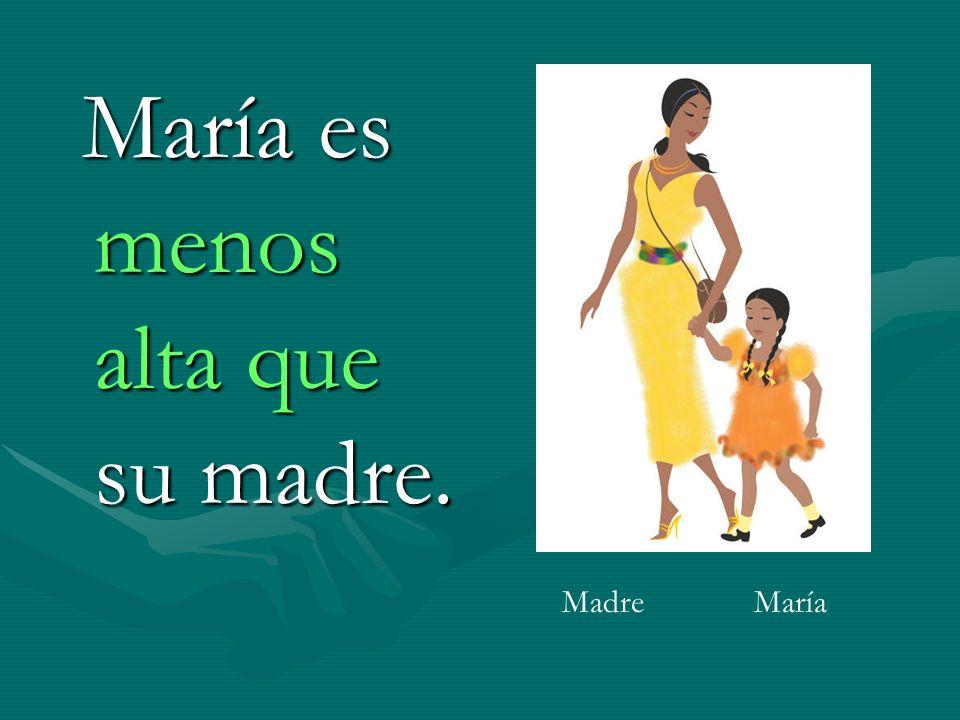 María es menos alta que su madre.