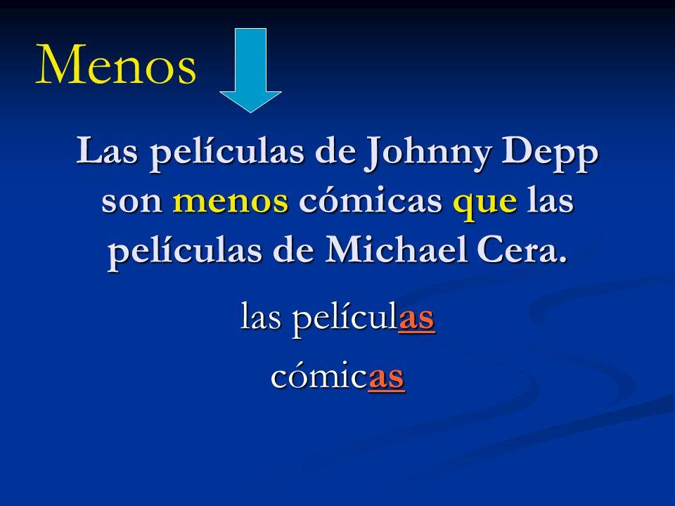Menos Las películas de Johnny Depp son menos cómicas que las películas de Michael Cera. las películas.