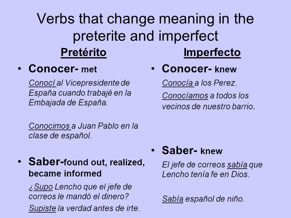 Verbs that change meaning in the preterite and imperfect