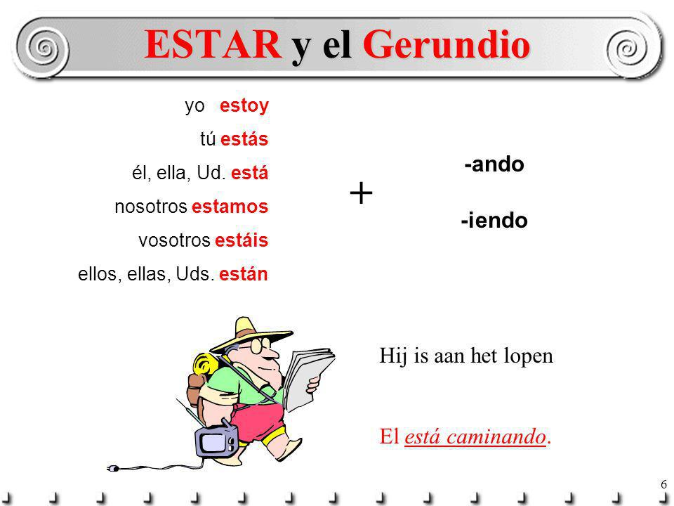 ESTAR y el Gerundio + -ando -iendo Hij is aan het lopen