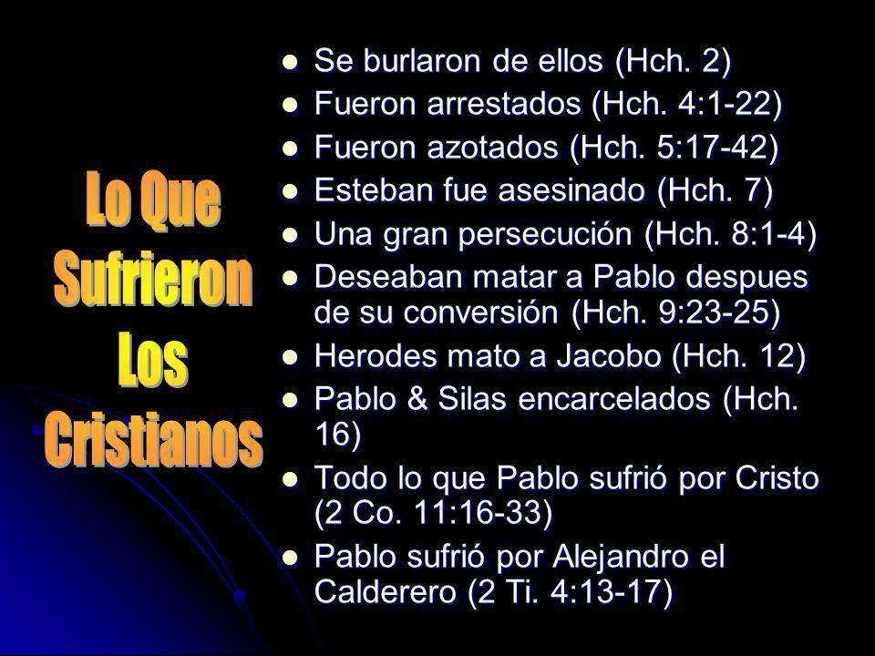 Lo Que Sufrieron Los Cristianos Se burlaron de ellos (Hch. 2)