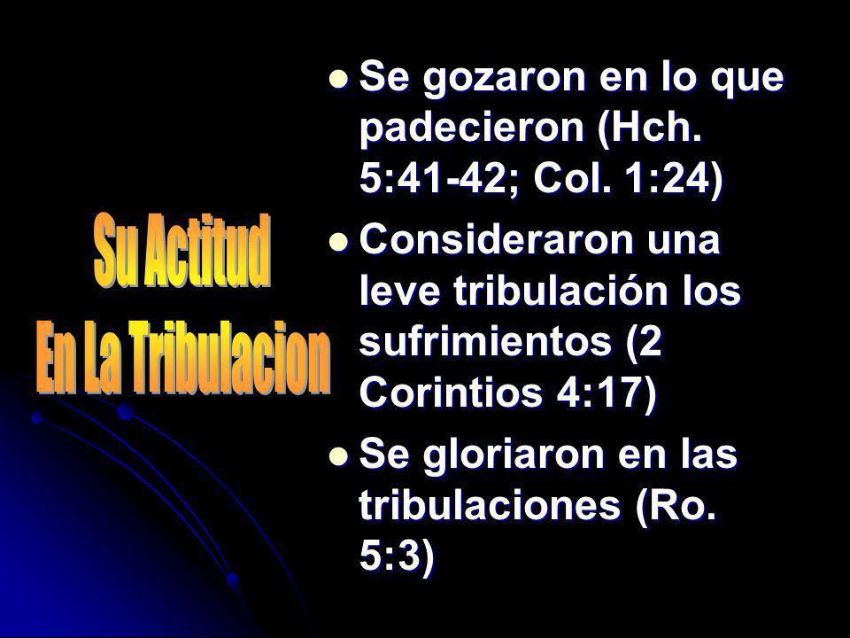 Se gozaron en lo que padecieron (Hch. 5:41-42; Col. 1:24)