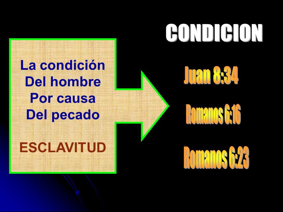 CONDICION Juan 8:34 Romanos 6:16 Romanos 6:23 La condición Del hombre