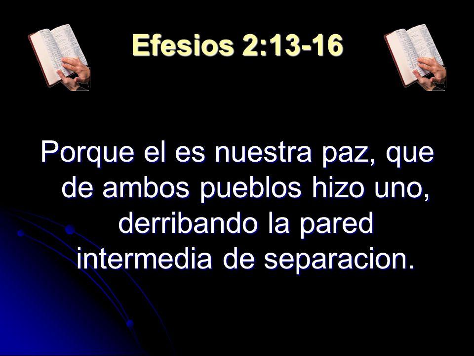Efesios 2:13-16 Porque el es nuestra paz, que de ambos pueblos hizo uno, derribando la pared intermedia de separacion.