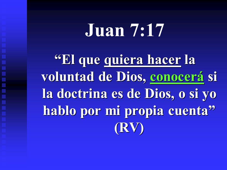 Juan 7:17 El que quiera hacer la voluntad de Dios, conocerá si la doctrina es de Dios, o si yo hablo por mi propia cuenta (RV)