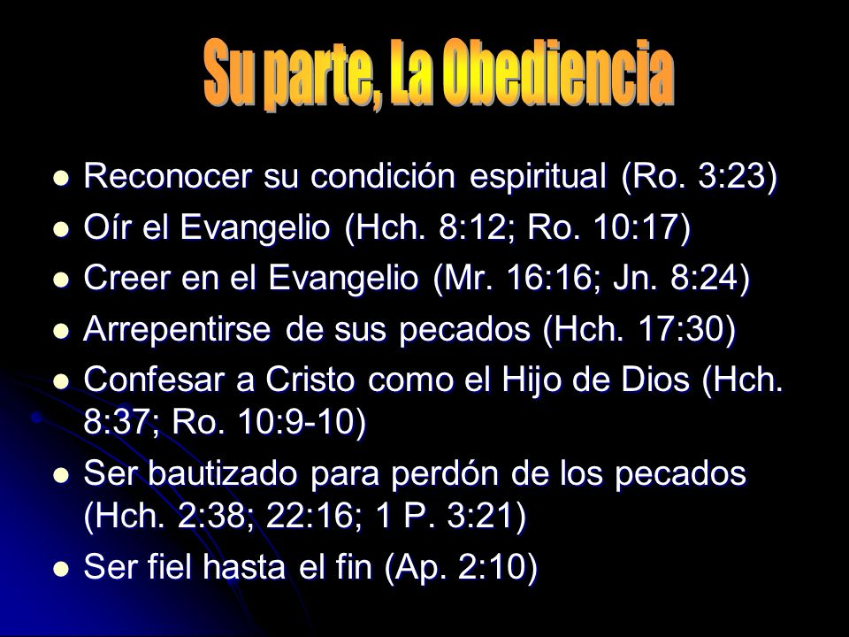Su parte, La Obediencia Reconocer su condición espiritual (Ro. 3:23)