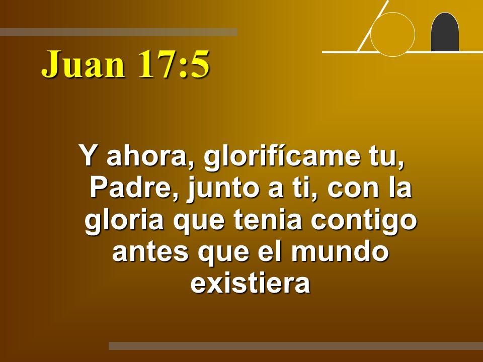 Juan 17:5 Y ahora, glorifícame tu, Padre, junto a ti, con la gloria que tenia contigo antes que el mundo existiera.