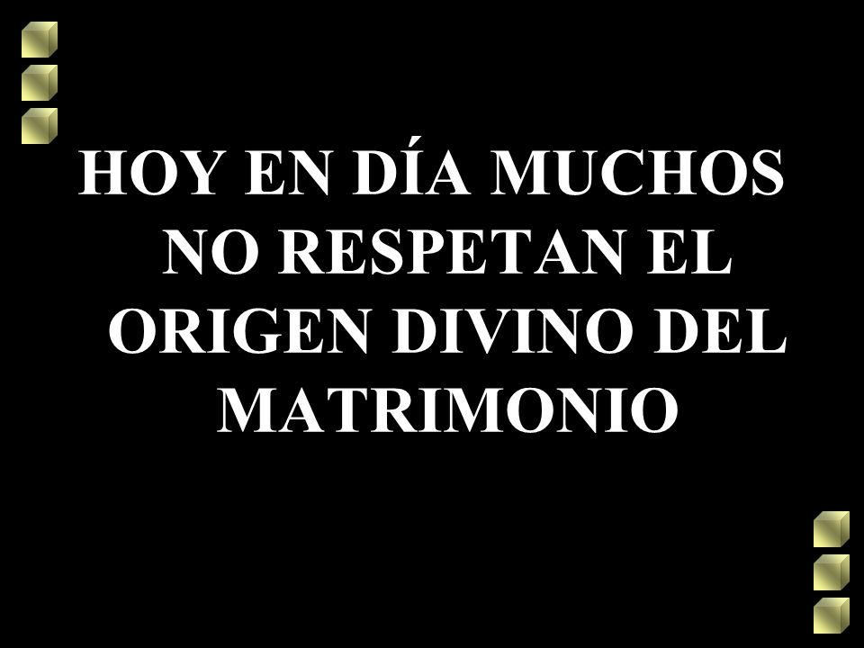 HOY EN DÍA MUCHOS NO RESPETAN EL ORIGEN DIVINO DEL MATRIMONIO