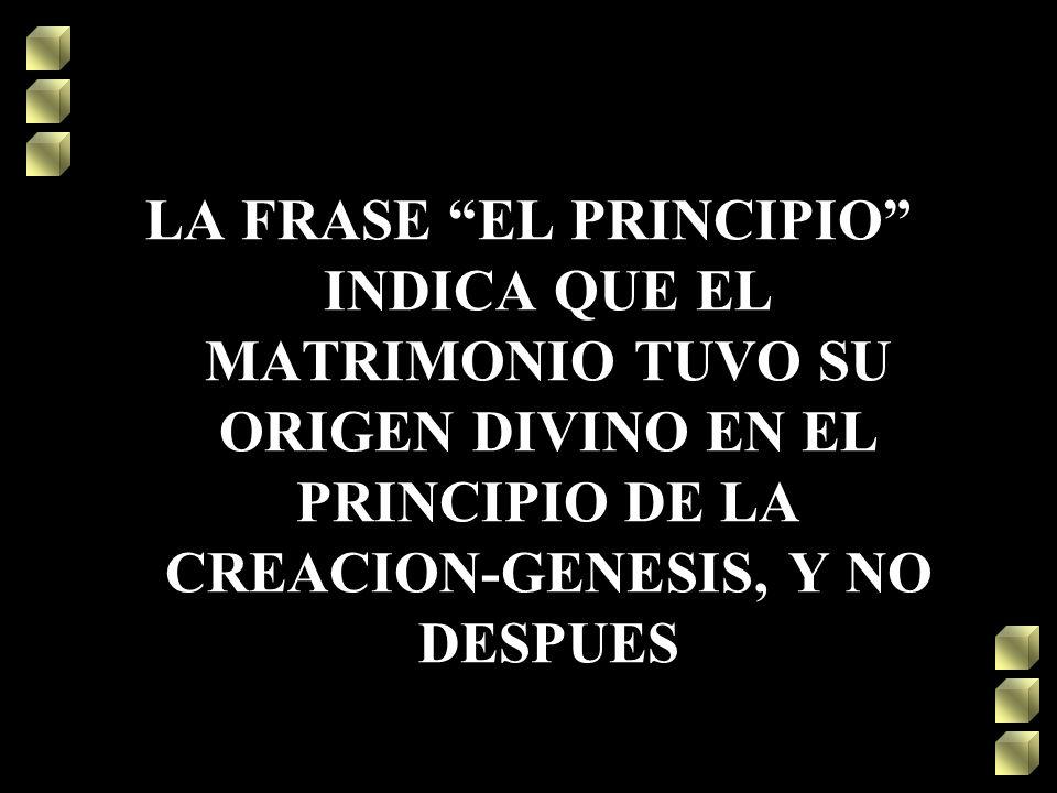 LA FRASE EL PRINCIPIO INDICA QUE EL MATRIMONIO TUVO SU ORIGEN DIVINO EN EL PRINCIPIO DE LA CREACION-GENESIS, Y NO DESPUES