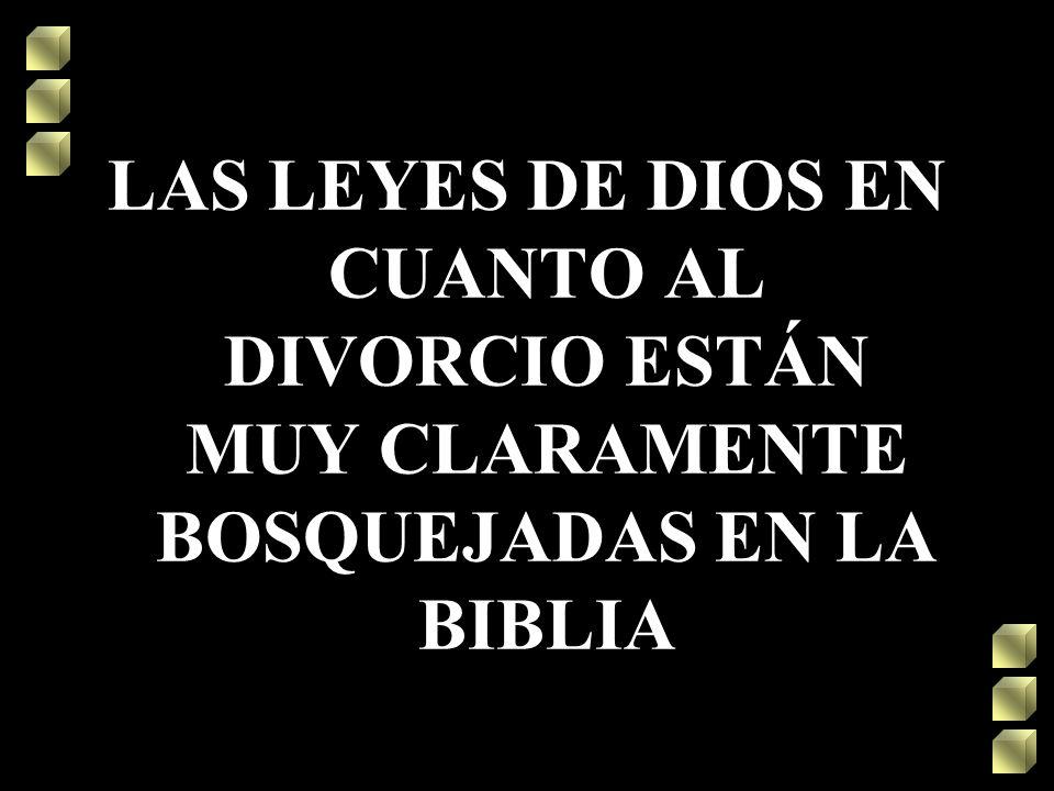 LAS LEYES DE DIOS EN CUANTO AL DIVORCIO ESTÁN MUY CLARAMENTE BOSQUEJADAS EN LA BIBLIA