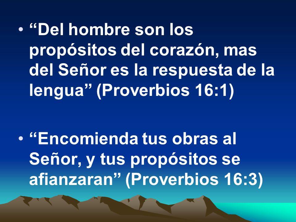 Del hombre son los propósitos del corazón, mas del Señor es la respuesta de la lengua (Proverbios 16:1)