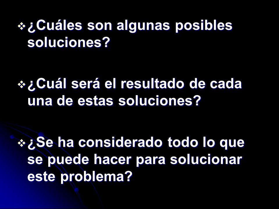 ¿Cuáles son algunas posibles soluciones