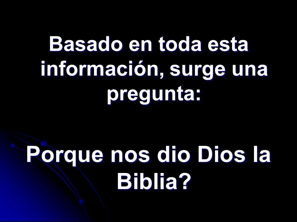 Porque nos dio Dios la Biblia