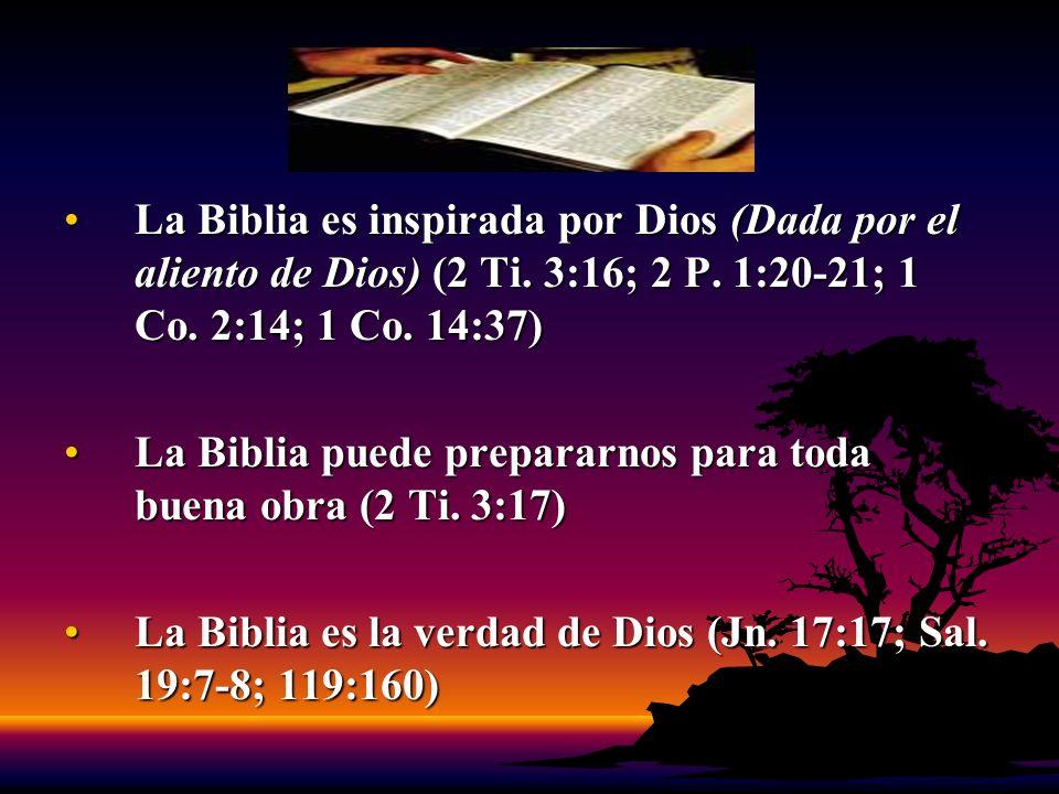 La Biblia es inspirada por Dios (Dada por el aliento de Dios) (2 Ti