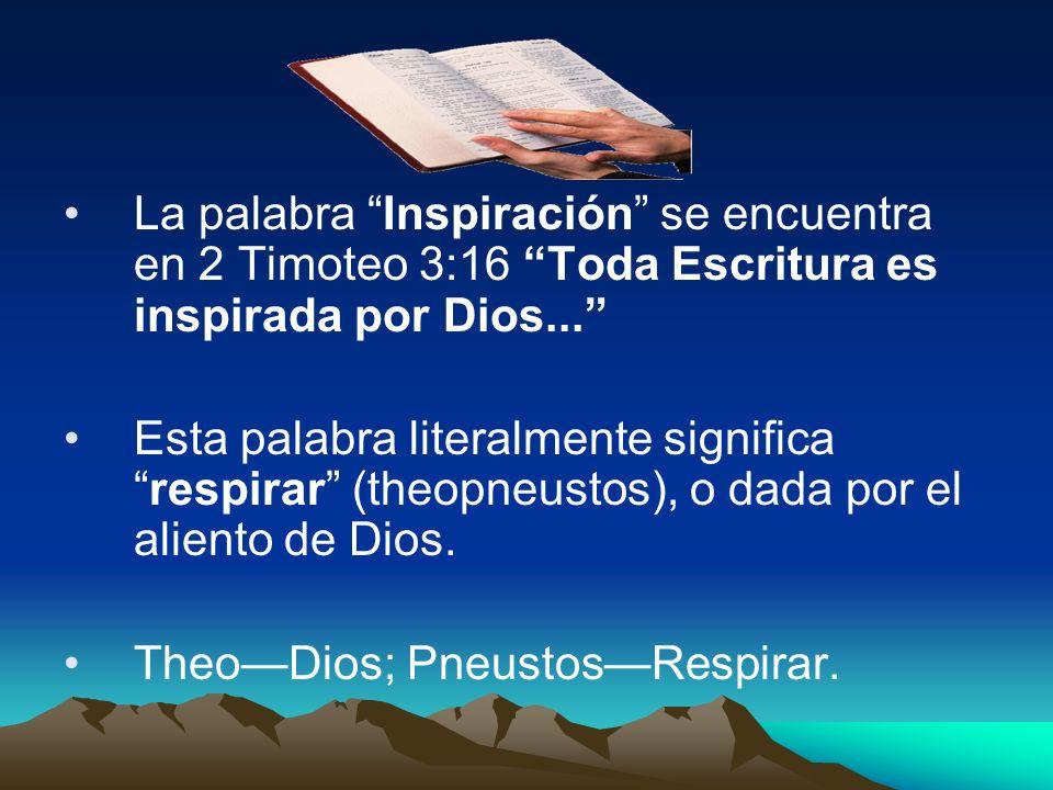 La palabra Inspiración se encuentra en 2 Timoteo 3:16 Toda Escritura es inspirada por Dios...