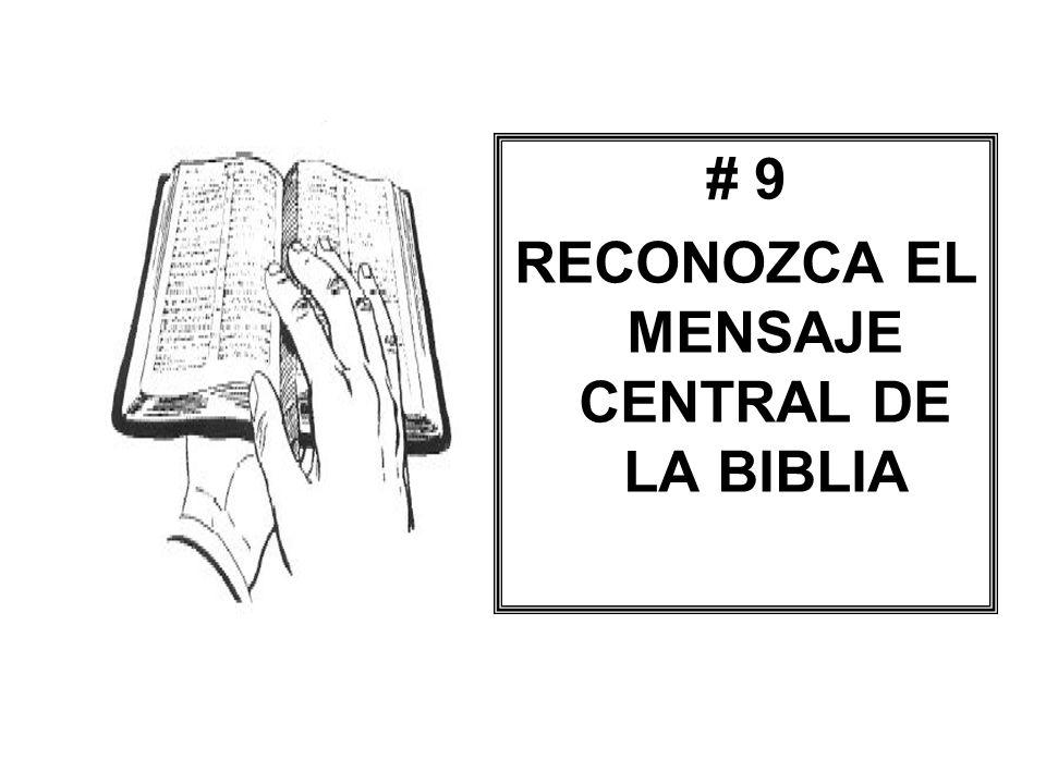 RECONOZCA EL MENSAJE CENTRAL DE LA BIBLIA