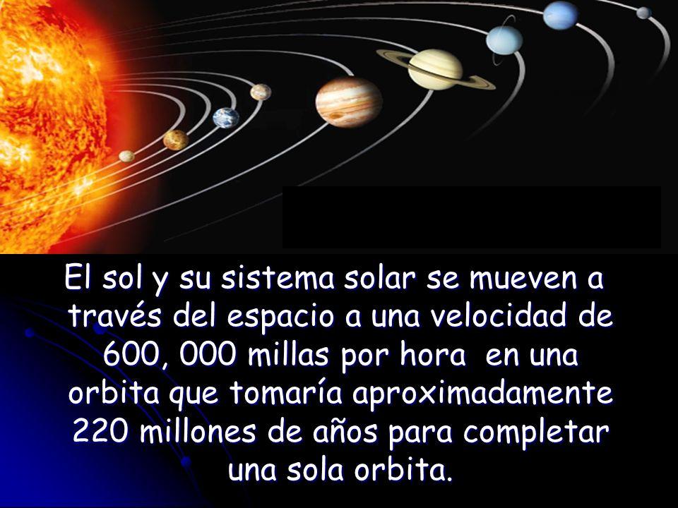 El sol y su sistema solar se mueven a través del espacio a una velocidad de 600, 000 millas por hora en una orbita que tomaría aproximadamente 220 millones de años para completar una sola orbita.