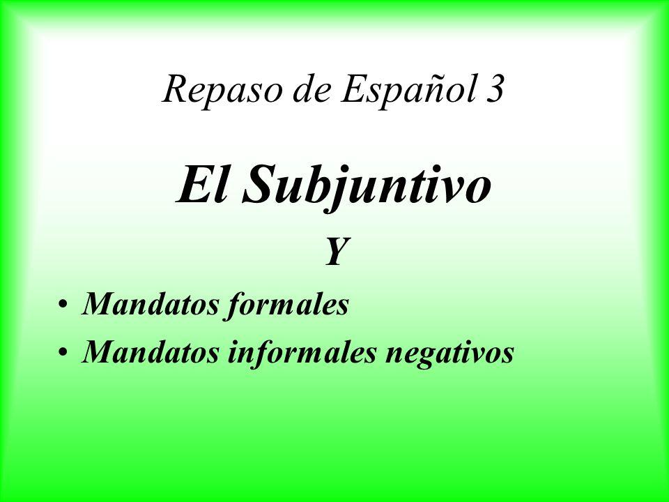 El Subjuntivo Repaso de Español 3 Y Mandatos formales