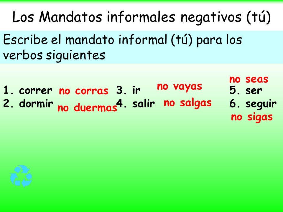 Los Mandatos informales negativos (tú)