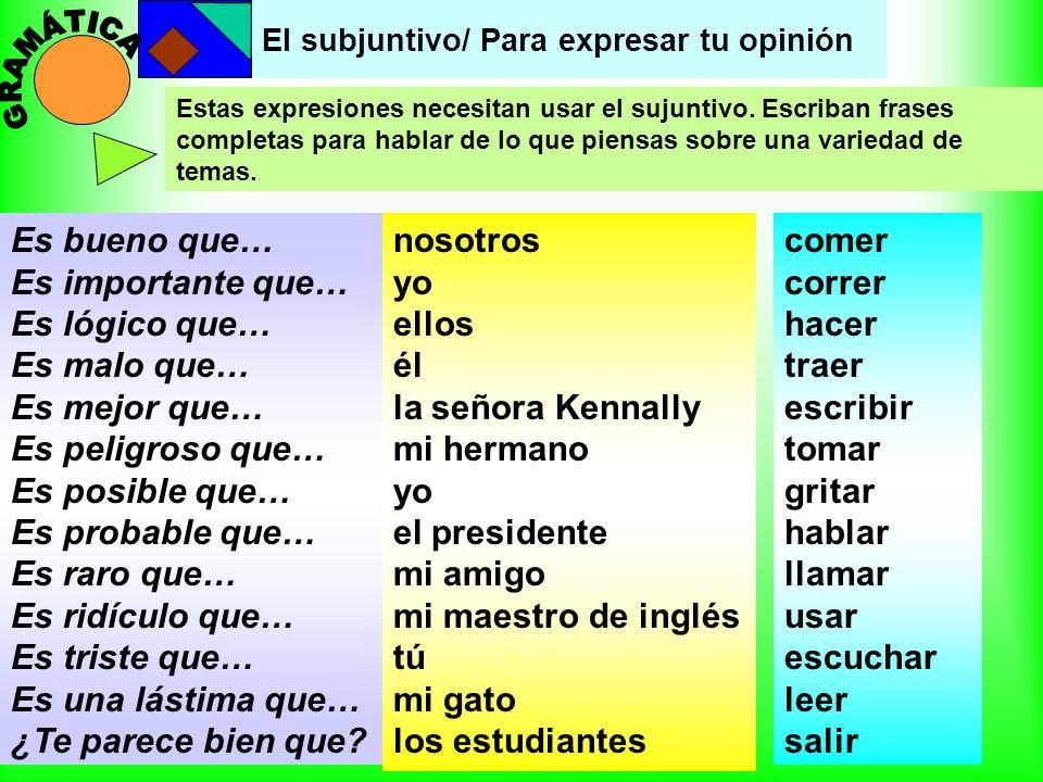 El subjuntivo/ Para expresar tu opinión