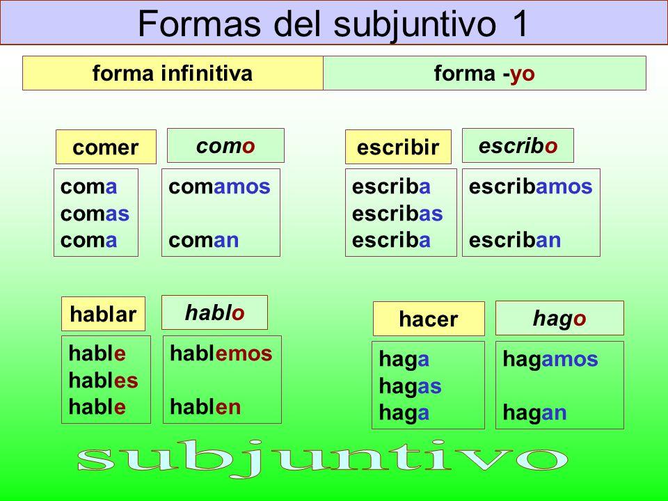Formas del subjuntivo 1 subjuntivo forma infinitiva forma -yo comer