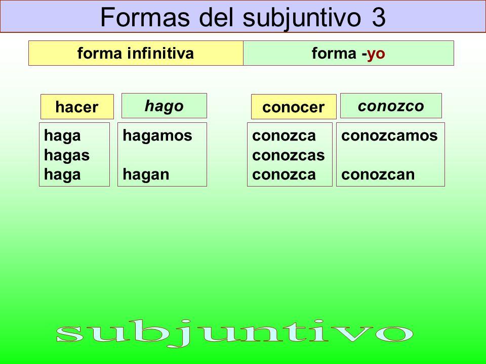 Formas del subjuntivo 3 subjuntivo forma infinitiva forma -yo hacer