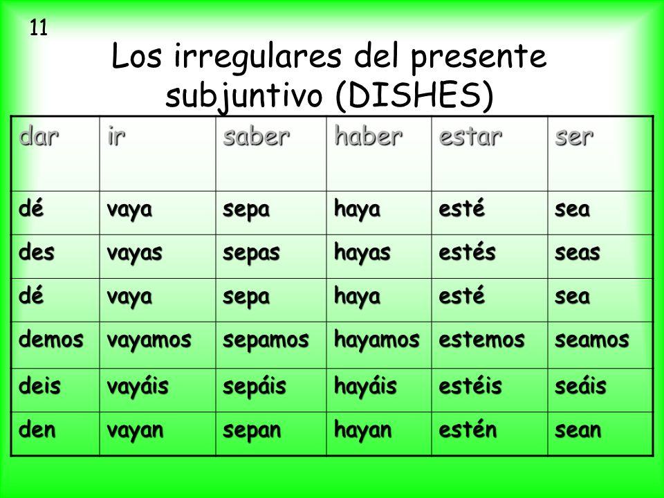 Los irregulares del presente subjuntivo (DISHES)