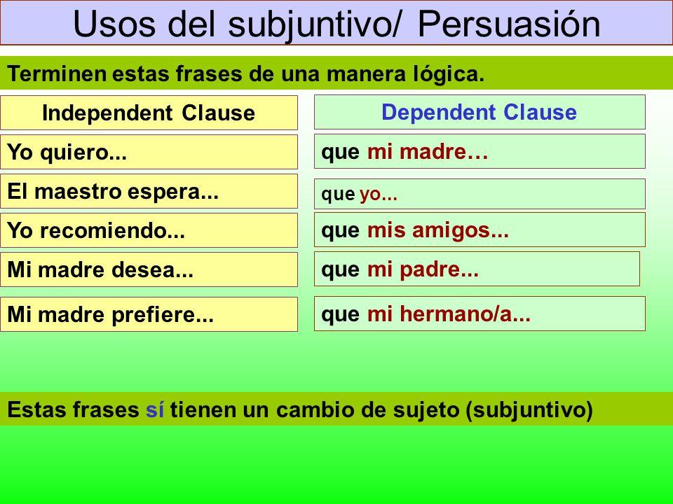 Usos del subjuntivo/ Persuasión