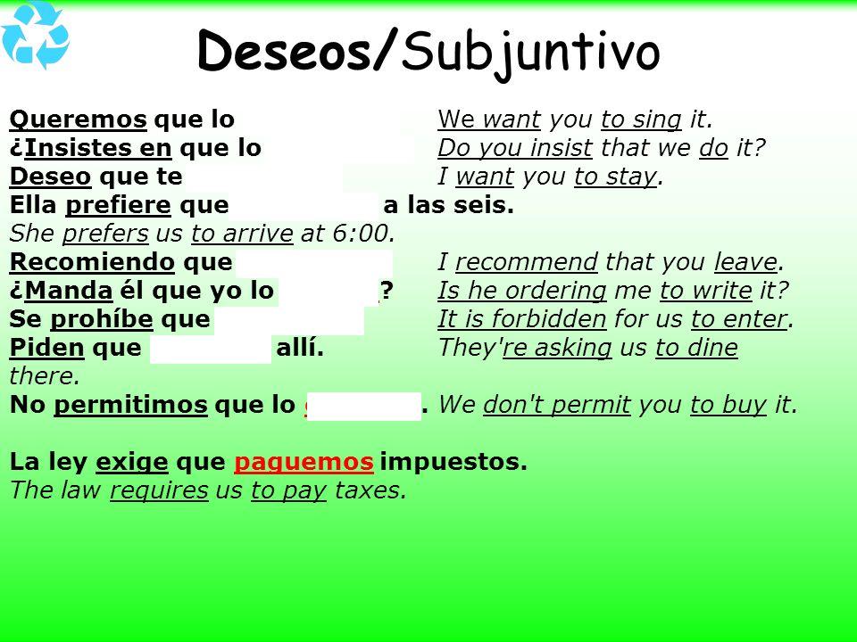 Deseos/Subjuntivo Queremos que lo cantes. We want you to sing it.