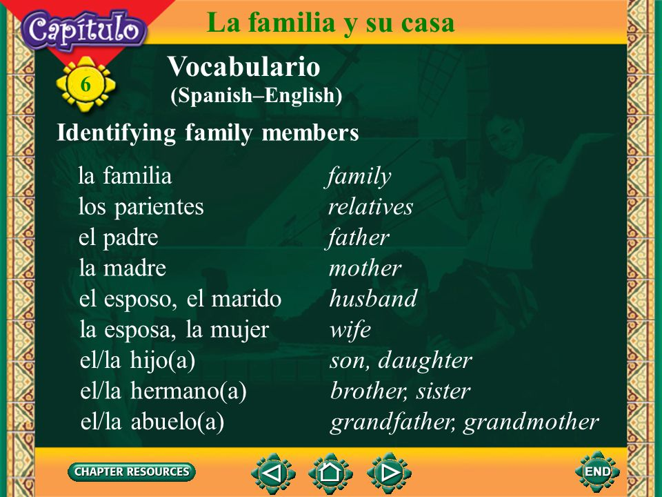 La familia y su casa Vocabulario Identifying family members la familia