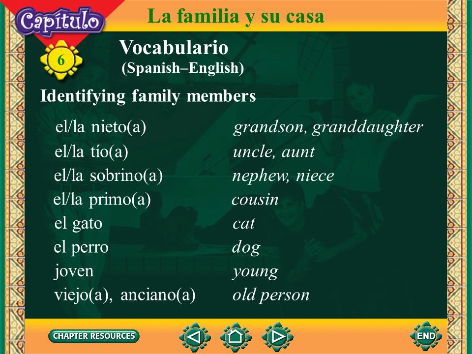 La familia y su casa Vocabulario Identifying family members