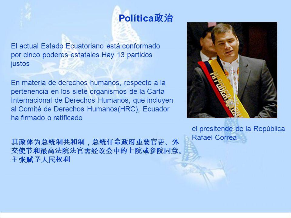 Política政治 El actual Estado Ecuatoriano está conformado por cinco poderes estatales.Hay 13 partidos justos.