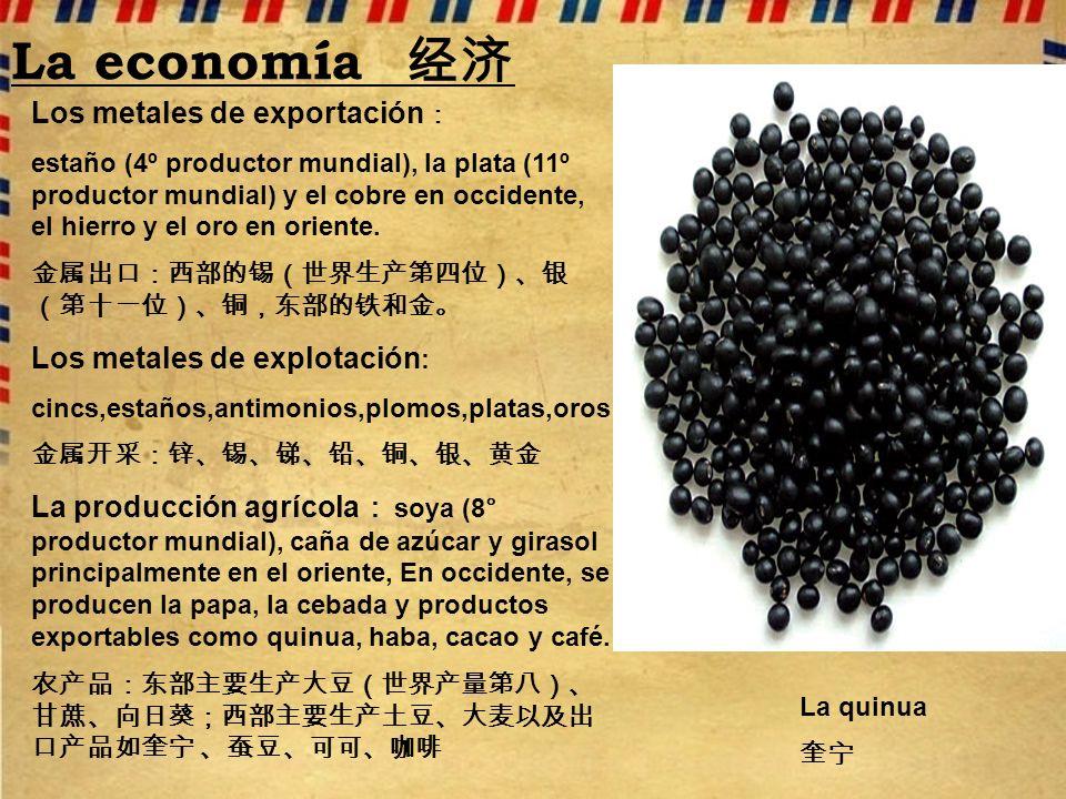 La economía 经济 Los metales de exportación: Los metales de explotación: