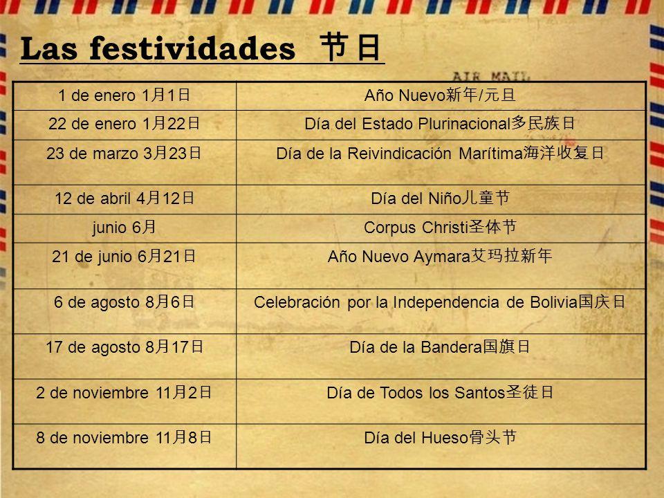 Las festividades 节日 1 de enero 1月1日 Año Nuevo新年/元旦 22 de enero 1月22日