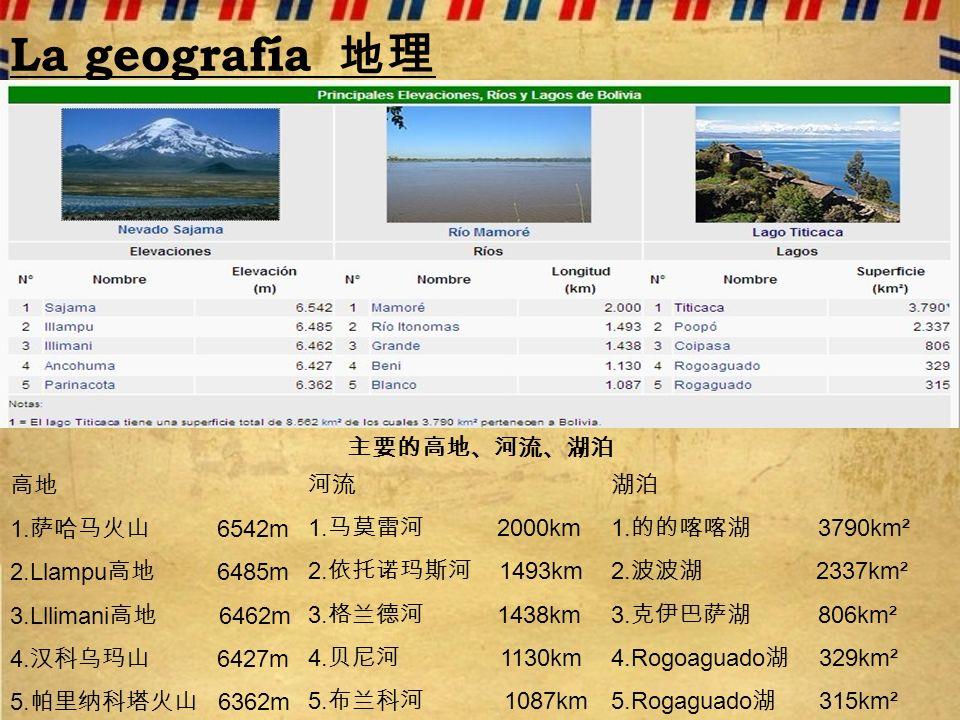 La geografía 地理 主要的高地、河流、湖泊 高地 1.萨哈马火山 6542m 2.Llampu高地 6485m