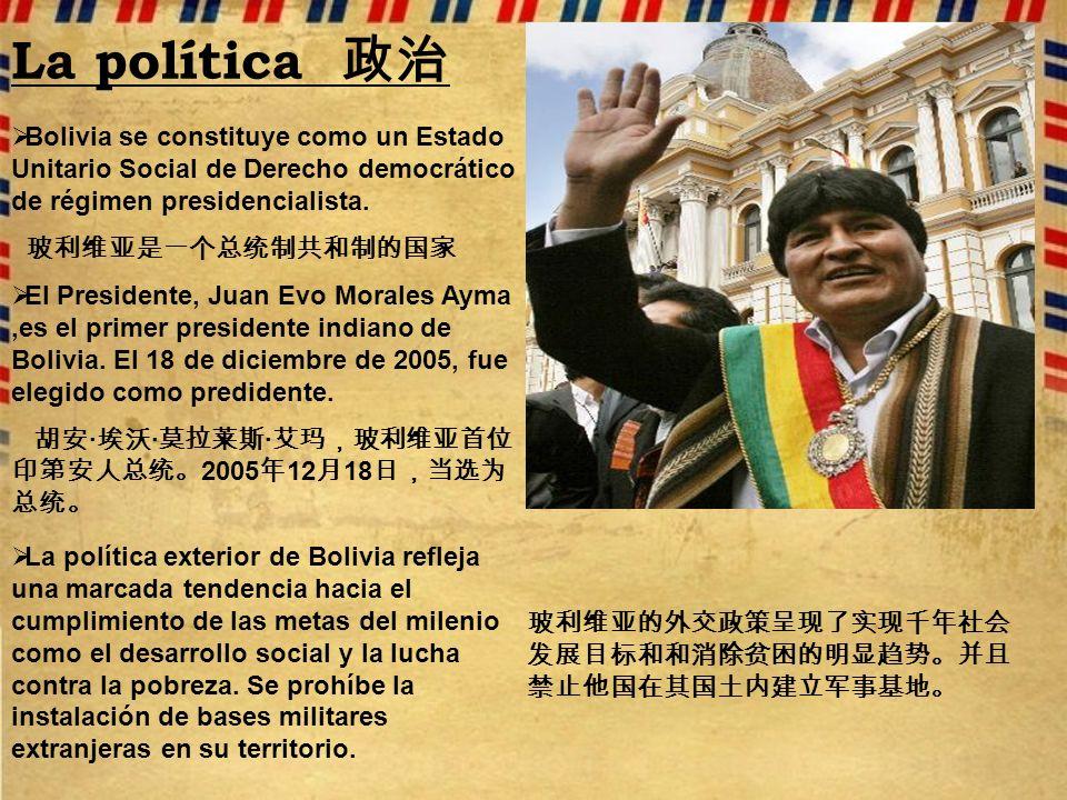 La política 政治 Bolivia se constituye como un Estado Unitario Social de Derecho democrático de régimen presidencialista.
