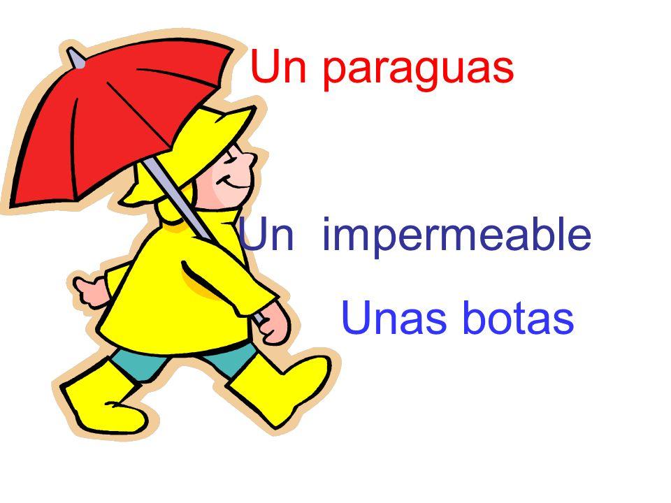 Un paraguas Un impermeable Unas botas