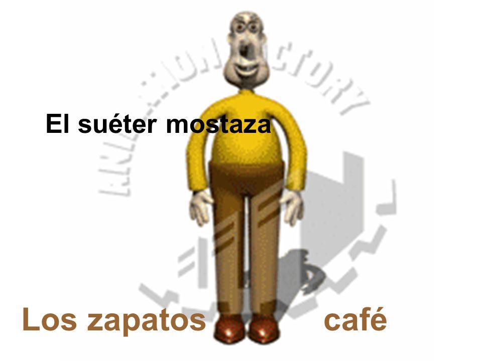 El suéter mostaza Los zapatos café