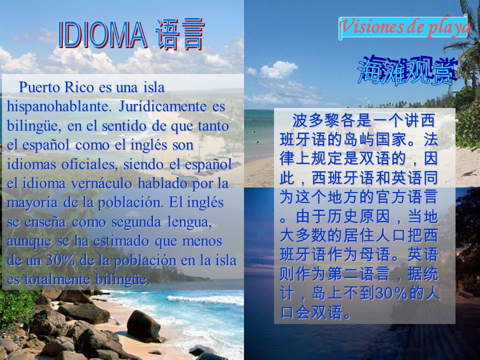 IDIOMA 语言 海滩观赏 Visiones de playa