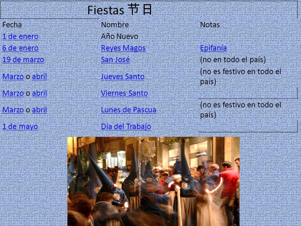 Fiestas 节日 Fecha Nombre Notas 1 de enero Año Nuevo 6 de enero
