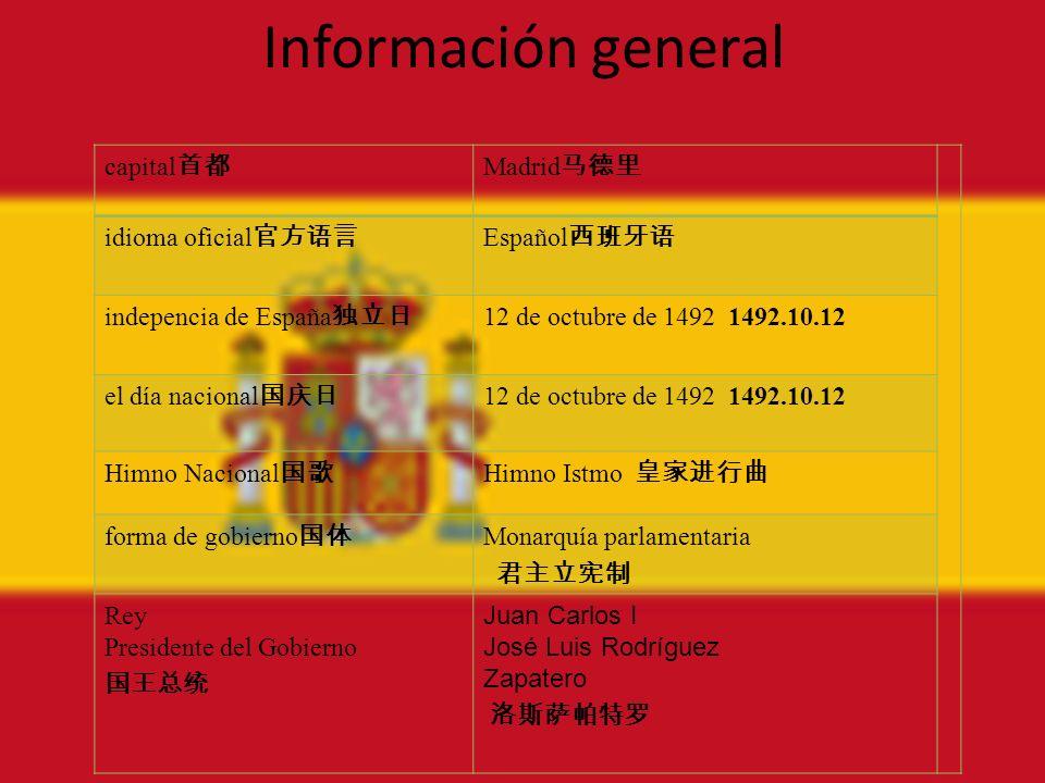 Información general capital首都 Madrid马德里 idioma oficial官方语言 Español西班牙语