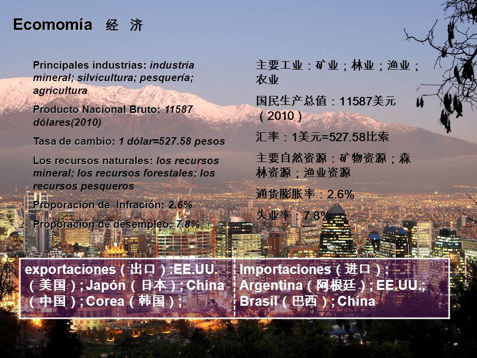 Ecomomía 经 济 Principales industrias: industria mineral; silvicultura; pesquería; agricultura. Producto Nacional Bruto: 11587 dólares(2010)