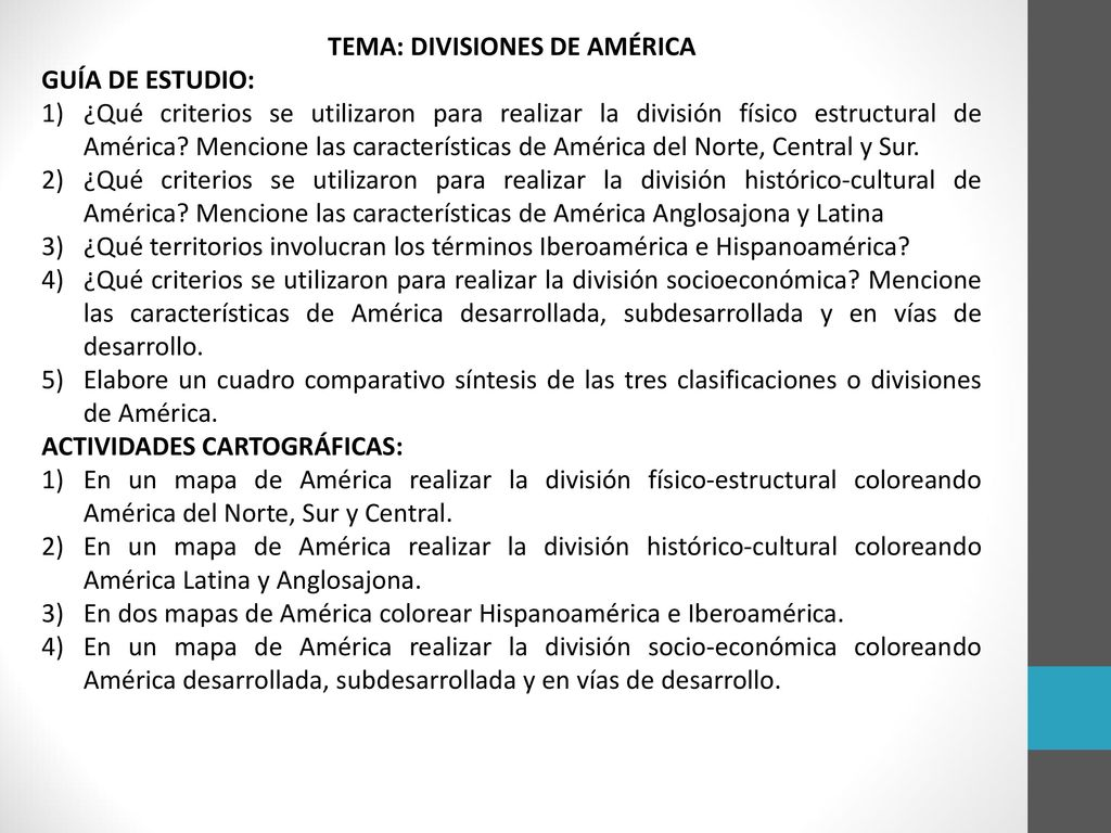TEMA: DIVISIONES DE AMÉRICA