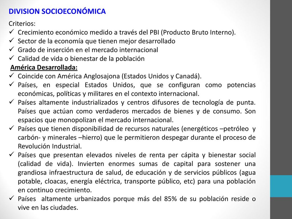 DIVISION SOCIOECONÓMICA